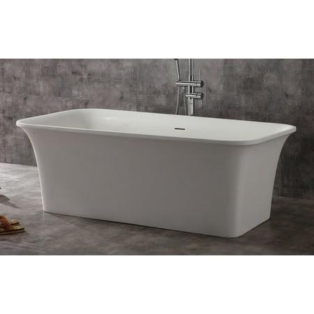 ALFI brand AB9942 Matte White 67 Resin Soaking Bathtub For Free Stand