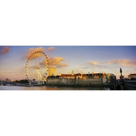 Ferris Wheel With Buildings At Waterfront Millennium Wheel London County Hall Thames River South Bank London England Canvas Art   Panoramic Images  36 X 12