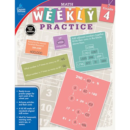 WEEKLY PRACTIVE MATH GRADE 4 WORKBOOK