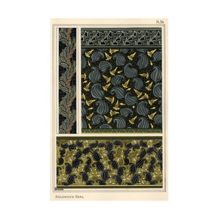 Solomon's seal, Polygonatum multiflorum, as design motif in wallpaper, borders and fabric. Print Wall Art