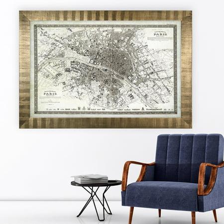 Wexford Home Vintage Paris Map Outline -Antique Gold (Frame Outline)