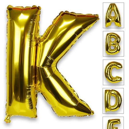 Just Artifacts Glossy Gold (30-inch) Decorative Floating Foil Mylar Balloons - Letter: K - Letter and Number Balloons for any Name or Number Combination! (Letter Mylar Balloons)