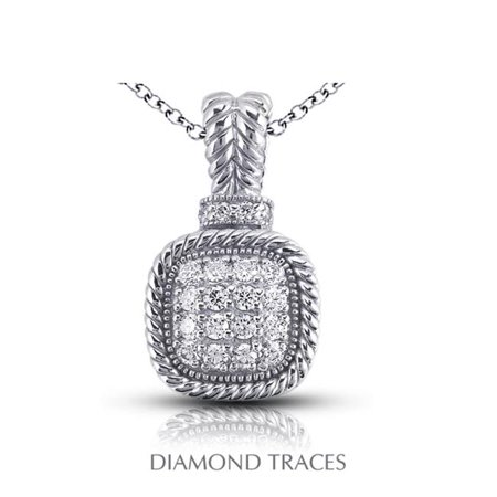 Diamond Traces 0.69 Carat Total Natural Diamonds 14K White Gold Pave Setting Rope Edging With Milgrain Fashion Pendant - image 1 de 1