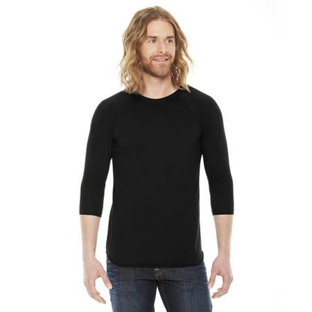 Brown American Apparel T-shirt (American Apparel Unisex Poly-Cotton 3/4-Sleeve Raglan T-Shirt Black XS )