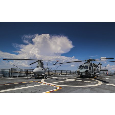 LAMINATED POSTER An MQ-8B Fire Scout unmanned aircraft system, left, and an MH-60R Sea Hawk helicopter are displayed Poster Print 24 x 36](Scout Helicopter)