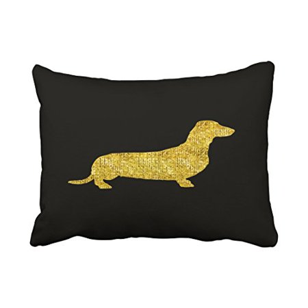 WinHome Decorative Dachshund Gold Sequin Stripes Pillow Cover for Sofa or Bedroom Size 20x30 inches Two Side ()