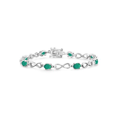 3.00 Carat T.G.W. Emerald And White Diamond Accent Sterling Silver Bracelet