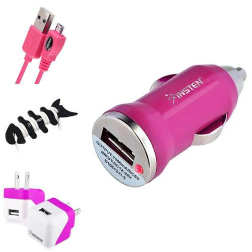 Insten Hot Pink 6' Micro USB Data Sync Cable+Travel Home Charger For Samsung Galaxy S6 S5 Note 4 Edge A7 E7 Mobile Phone