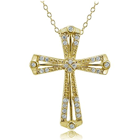 Cz 14Kt Yellow Gold Over Sterling Silver Classic Cross Pendant  18