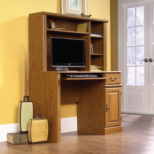 Sauder Orchard Hills Computer Desk with Hutch, Carolina Oak Finish