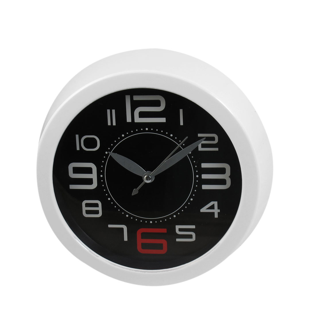 Round Dial Plastic Wall Clock Ornament White for Bedroom