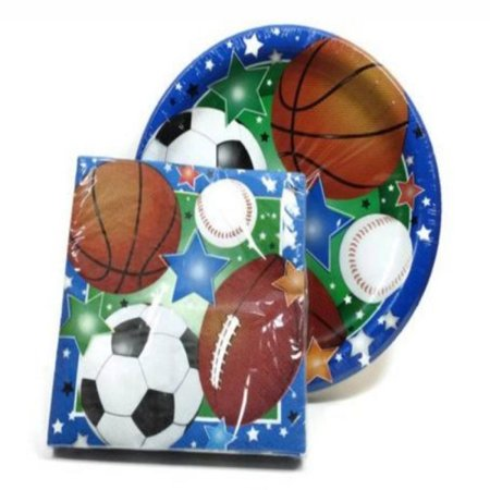 Sports Themed Party Supply Pack - Plates and Napkins - Baseball, Football, Soccer, - Football Themed Birthday Party