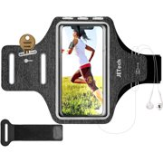 JETech Cell Phone Armband Case for iPhone SE(2020)/11/11 Pro/XR/XS/X/8 Plus/7 Plus/8/7/6s/6, Galaxy S10/S9/S9+, Adjustable Band, w/Key Holder and Card Slot, for Running, Walking, Hiking, Grey