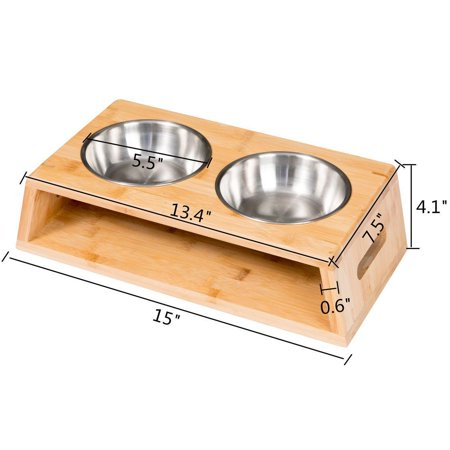 Elevated Dog Cat Feeder Tall Dog Bowl Bamboo Stand Double Stainless Food -