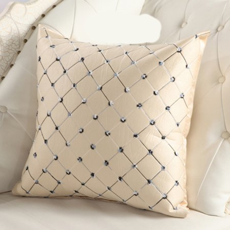 Joyfeel Clearance Sofa Pillow Cushion Cover Square Lattice Geometric Chain Embroidered Pillow Cover Case Grid Decorative Cushion Cover