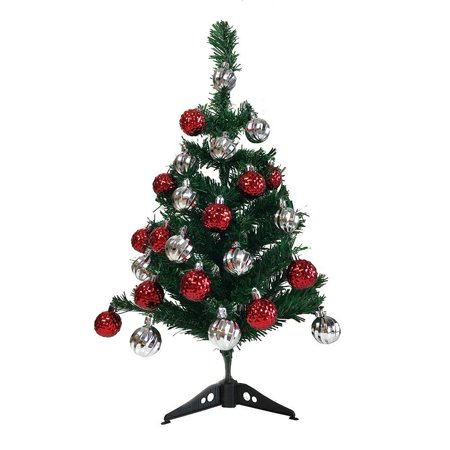 Christmas Holiday Christmas Tree - Artificial 2' Ft Small Charlie Pine Premium Holiday Christmas Tree - Unlit Office Tabletop Xmas Tree