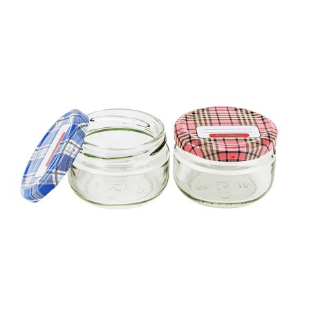 PrestoWare 1100M, 0.1L / 3.4 oz Glass Jar for Jam, Honey, Wedding Favors, Shower Favors, Baby Foods, Canning, Spices, Vintage Jar with Plastic Screw Lid (2-Piece Set)