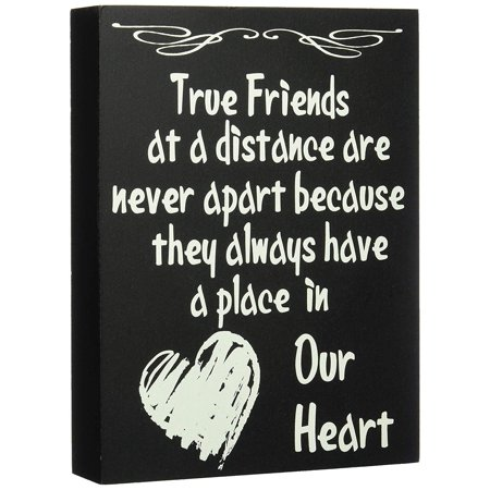 JennyGems Wooden Stand Up Box Sign True Friends At A Distance Are Never Apart Because They Always Have A Place In Our Heart - Home and Wall Decor Accents - Friendship Sign with Quote - Bestie