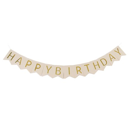 Paper HAPPY BIRTHDAY Letter Print DIY Party Hanger Decor Photo Prop Banner Beige - Diy Birthday Banner