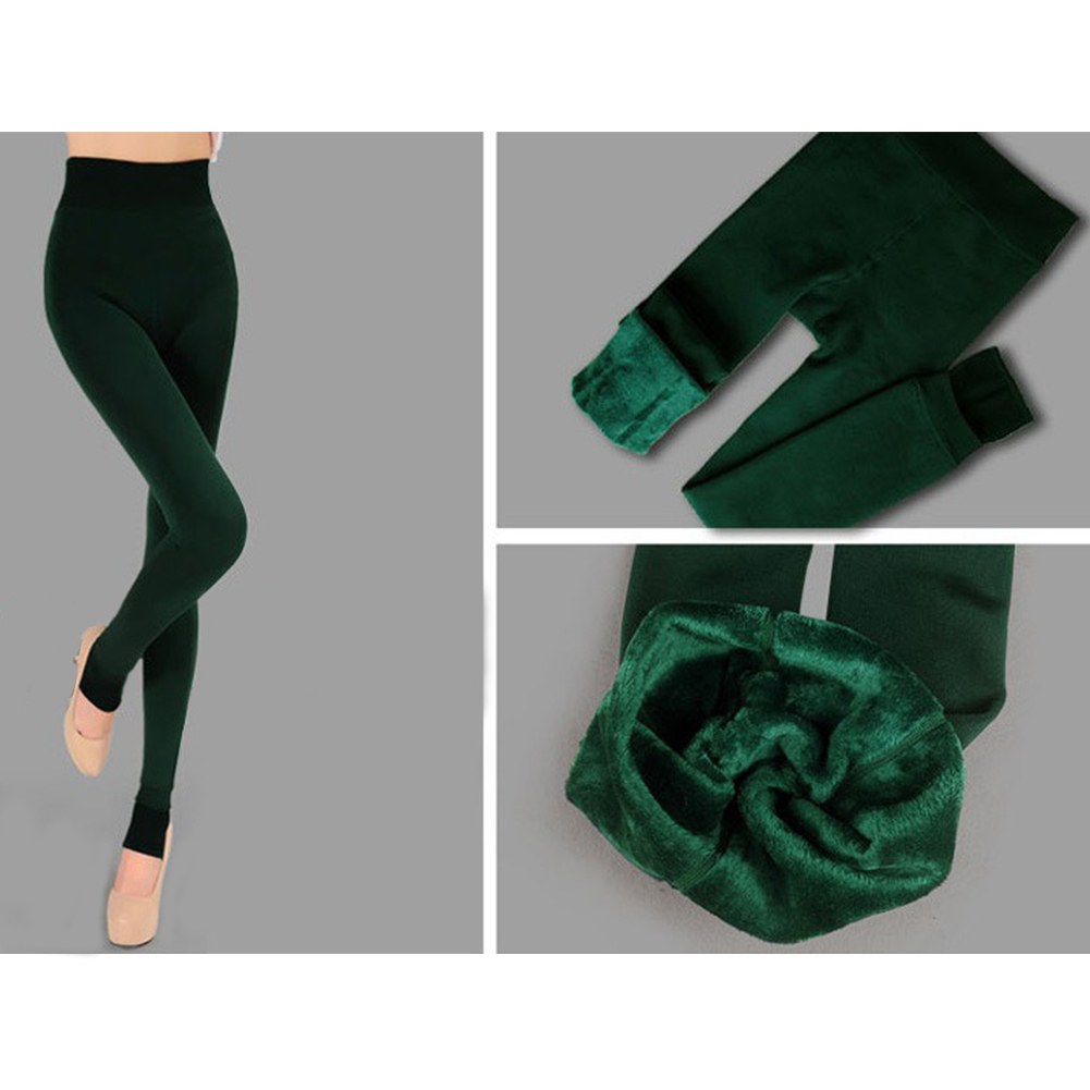 Women's Winter Full Length Fleece Warm Velvet Elastic Stretchy Leggings Pants
