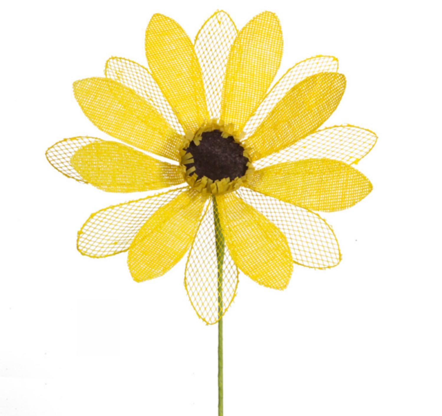 """Pack of 6 Yellow Mesh Decorative Artificial Sunflower Stems 23"""""""