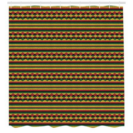Kente Pattern Shower Curtain, Traditional African Pattern in Lively Colors Indigenous Culture Folklore, Fabric Bathroom Set with Hooks, 69W X 70L Inches, Multicolor, by Ambesonne