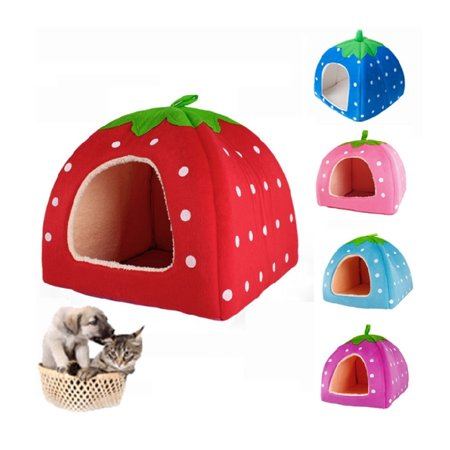 Dog House Blind - Zimtown Soft Strawberry Pet Dog Cat Bed House Kennel Doggy Warm Cushion Basket S M L