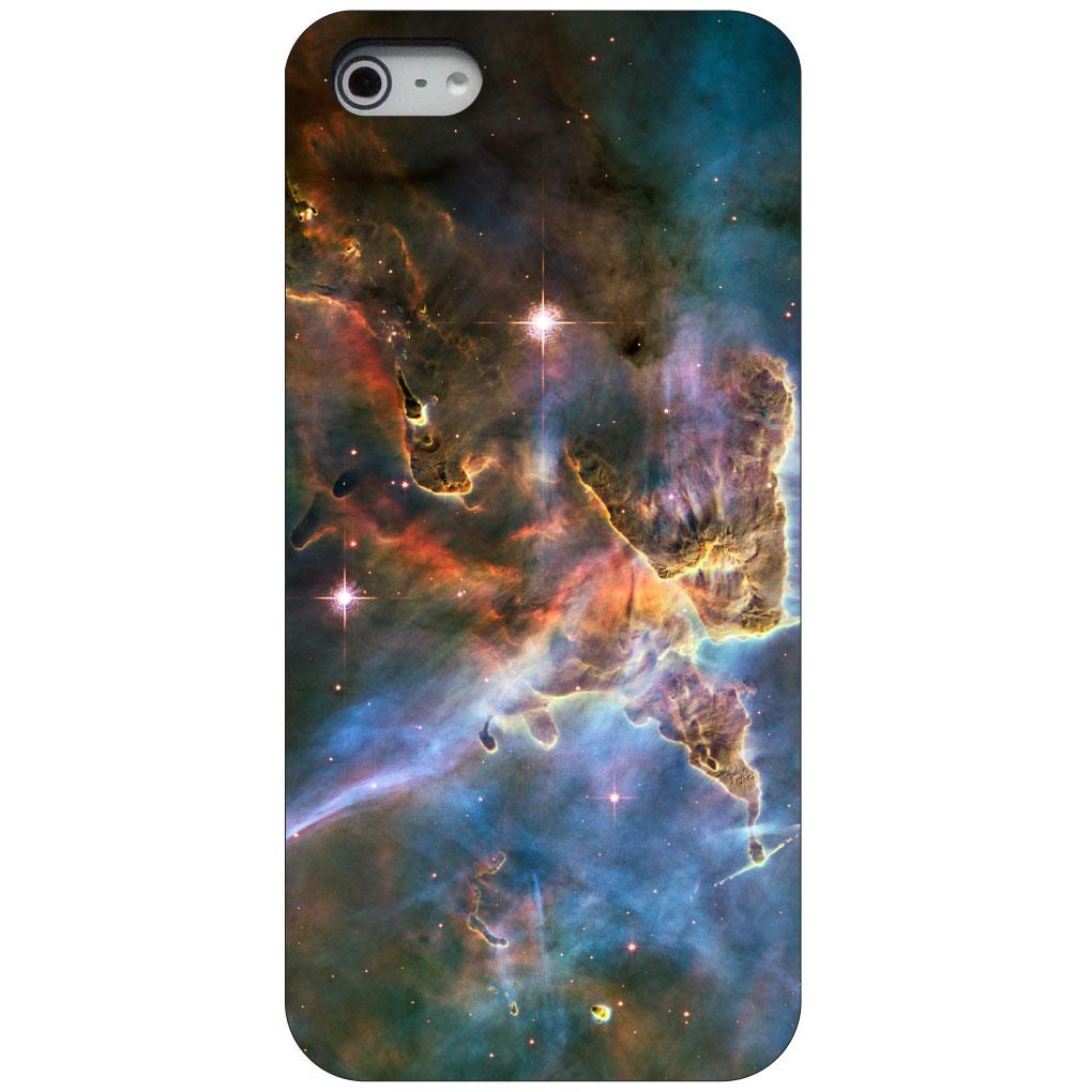 CUSTOM Black Hard Plastic Snap-On Case for Apple iPhone 5 / 5S / SE - Blue Pink Orange Carina Nebula