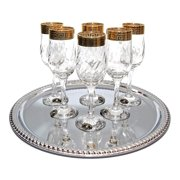 Italian Collection Greek Key 'Tulip' 8 oz Crystal Champagne Flutes Glasses Gold
