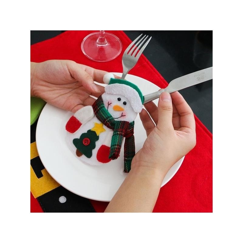 Kuke Xmas Pocket Decor Kitchen Santa Christmas Tableware