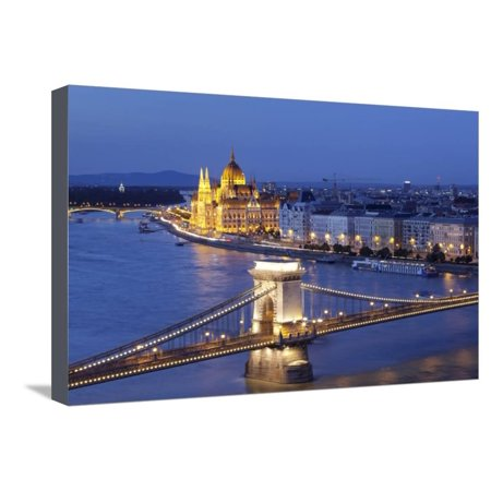 View over Danube River to Chain Bridge and Parliament, UNESCO World Heritage Site, Budapest, Hungar Stretched Canvas Print Wall Art By Markus Lange