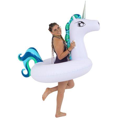 SunDaze Floats Giant Unicorn Pool Ring - Fun Kids Swim Party Toy - Summer Lounge - Fun Summer Crafts For Kids
