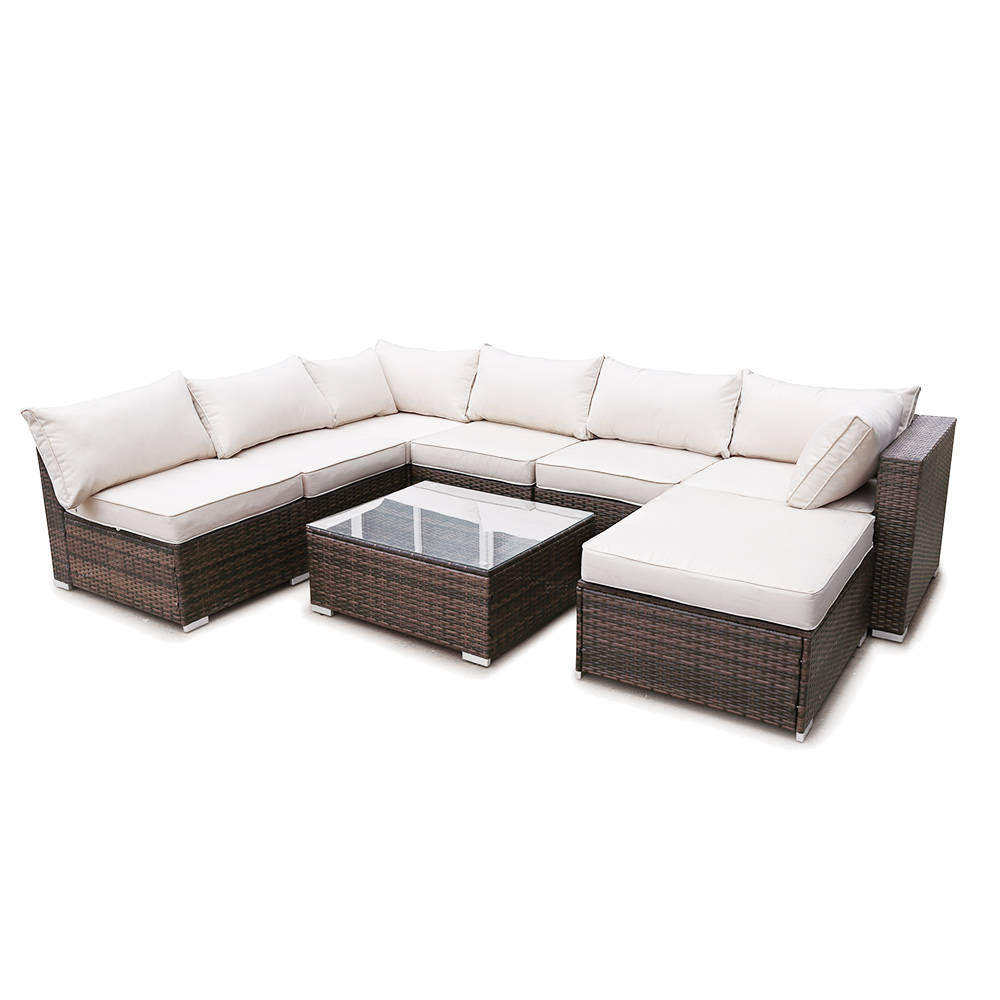 8 Piece Modular Outdoor Patio Furniture Set Wicker