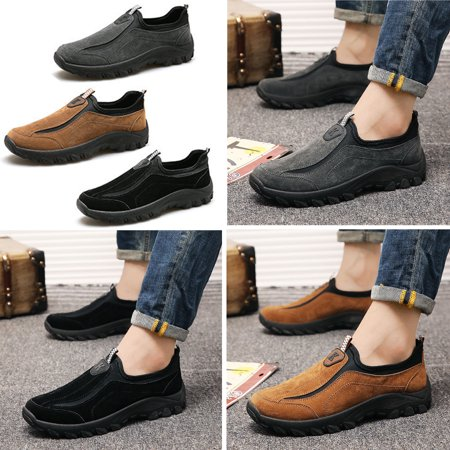 Meigar Men's Suede Outdoor Sneakers Casual Breathable Slip on Walking Shoes (Slip Suede Sneakers)