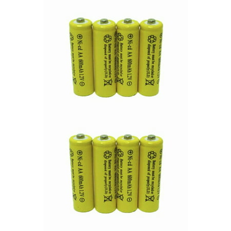 8 Piece Set AA NiCd 600mAh 1.2V Rechargeable Solar Battery, 8 Pack Batteries ()