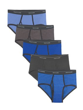 Fruit of the Loom Men's Stripe and Solid Fashion Briefs Extended Sizes, 5 Pack