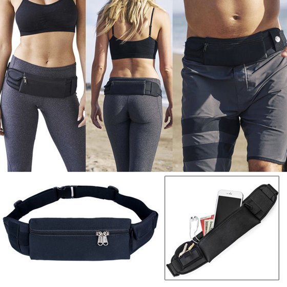 60878219ebd Running Waist Bag Fanny Pack / Hip Pack Pouch for Man Women Sports Travel  Hiking / Money iPhone6/6S Plus 7/7Plus 8/X/8Plus Samsung S8 Black IClover