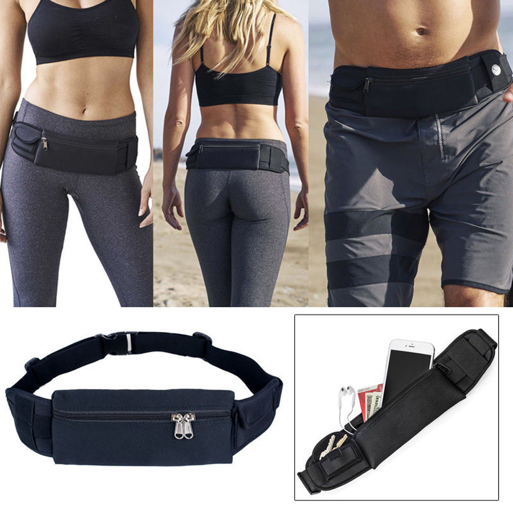 Running Waist Bag Fanny Pack / Hip Pack Pouch for Man Women Sports Travel Hiking / Money iPhone6/6S Plus 7/7Plus 8/X/8Plus Samsung S8 Black IClover