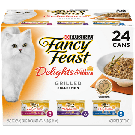 Fancy Feast Gravy Wet Cat Food Variety Pack, Delights With Cheddar Grilled Collection - (24) 3 oz. (Chic Cat)
