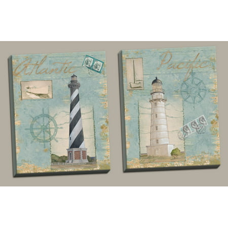 Seacoast Lighthouse I Atlantic And Pacific Coastal Oceanside Lighthouse Prints  Nautical D Cor  Set Of Two 11X14 Inch Hand Stretched Canvases