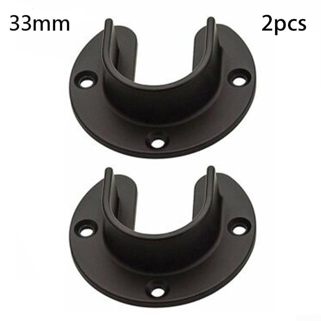 2x Stainless Steel Wardrobe Pipe Lever Bracket Rod Support Holder Bracket