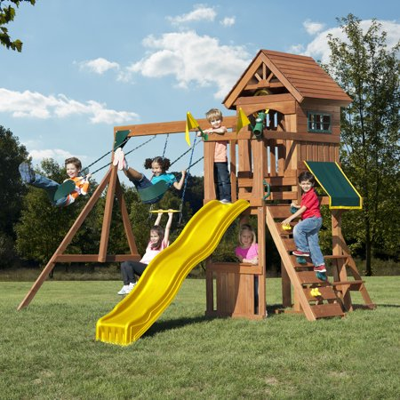 Swing-N-Slide Jamboree Fort Wooden Play Set with Slide, Swings and Climbing Wall