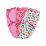 SwaddleMe Original Swaddle  Size Small/Medium, 0-3 Months, 3-Pack (Elephant Hearts)