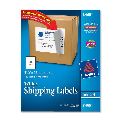 "Avery Mailing Label - 8.50"" Width X 11"" Length - 100 / Box - Rectangle - 1/sheet - Inkjet - White (AVE8465)"