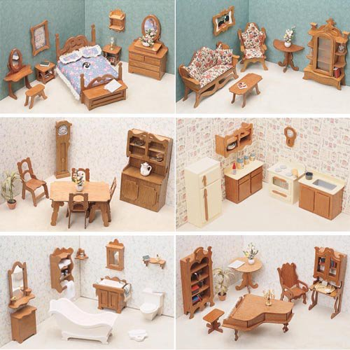 Greenleaf 6 Room Furniture Kit Set-1 Inch Scale