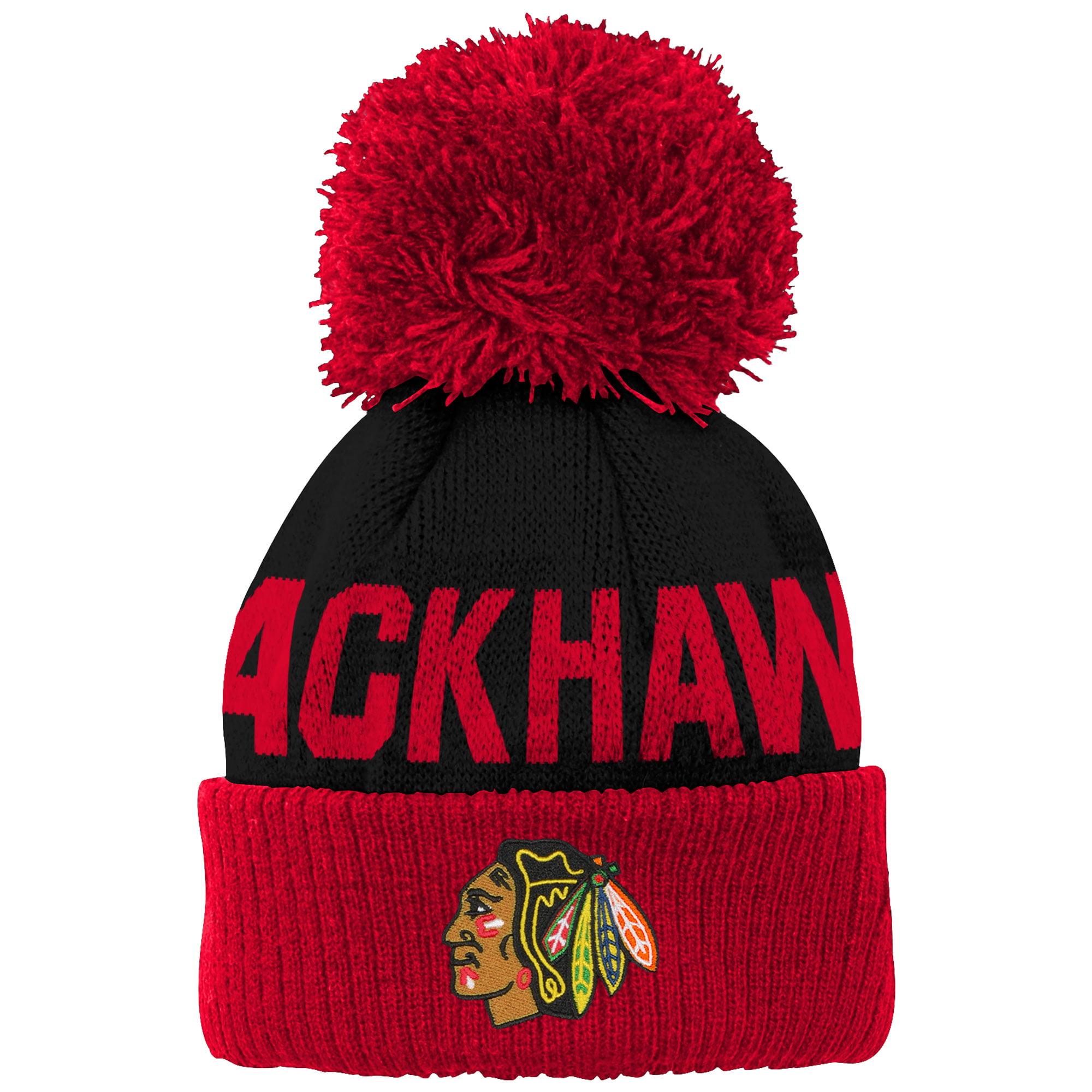 Chicago Blackhawks Newborn & Infant Block Wordmark Cuffed Pom Knit Hat - Black - OSFA