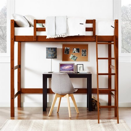 Your Zone Twin Wood Loft Bed and Mattress - Golf Wood Loft