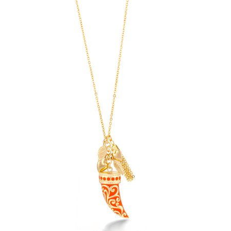 (TAZZA WOMEN'S GOLD CORAL HORN PENDANT NECKLACES)