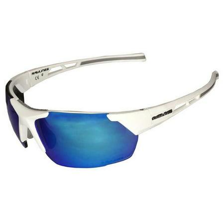 Rawlings Mens Athletic Sunglasses Half-Rim White/Blue Mirrored Lens 10237060.QTS