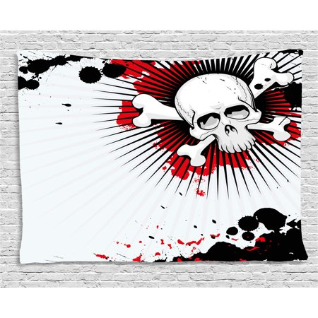 Halloween Tapestry, Skull with Crossed Bones over Grunge Background Evil Scary Horror Graphic, Wall Hanging for Bedroom Living Room Dorm Decor, 80W X 60L Inches, Pearl Red Black, by Ambesonne - Quilted Halloween Wall Hangings